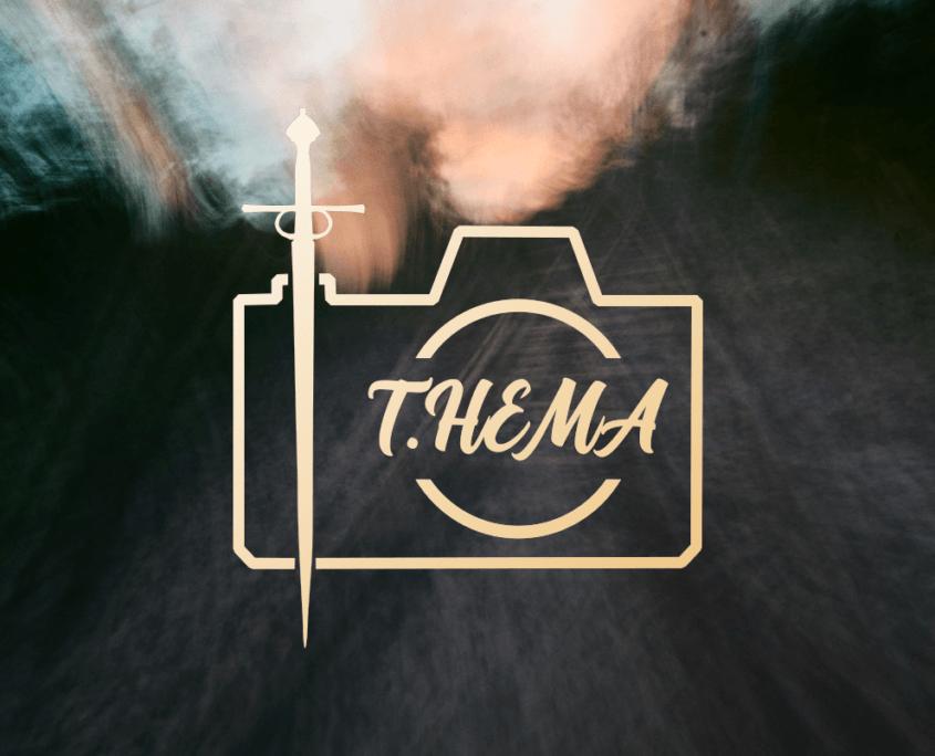 Logo von T.hema mit kamera und schwert
